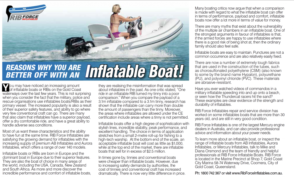There are many reasons why an inflatable boat is a better